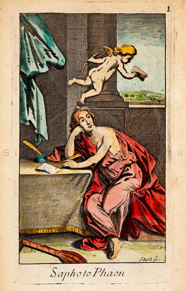 Vintage 1600s Color Illustration of Greek Gods Mythology - OVID'S EPISTLES TRANSLATED BY SEVERAL HANDS, published in London for Jacob Tonson.