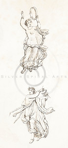 Vintage 1800s Sepia Illustration of Greek Goddesses.