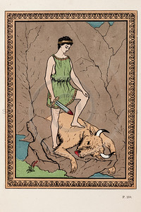 Vintage 1800s Color Chromolithograph Illustration of Theseus Killing a Bull from GREEK FAIRY TALES by Charles Kingsley.  The natural patina, age-toning, imperfections, and old paper antiquing of this vintage 19th century illustration are preserved in this image.