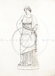 Vintage 1800s Color Illustration of Greek Goddess.