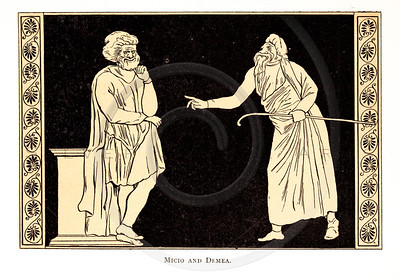 Vintage 1800s Color Illustration of Ancient Greek Comedy - STORIES FROM GREEK COMEDIANS by Alfred Church.