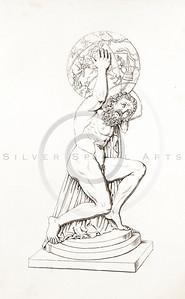 Vintage 1800s Sepia Illustration of Greek God.