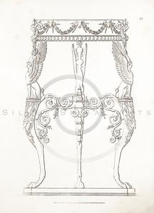 Vintage 1800s Sepia Illustration of Greek Ornament.
