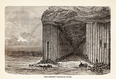 Vintage illustration of Fingal's Cave from 1887.  The natural age-toning, paper stains, and antique printing imperfections are preserved in this 1800s vintage stock image.