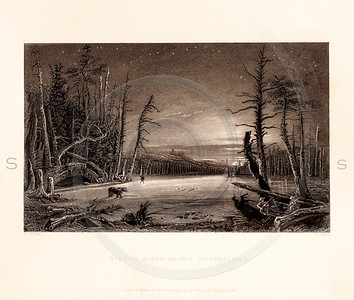 Vintage illustration of a Winter Scene from American Scenery by W.H. Bartlett, 1839.  Antique digital download of old print - Winter, trees, nature, landscape, American, America.  The natural age-toning, paper stains, and antique printing imperfections are preserved in this 1800s stock image.