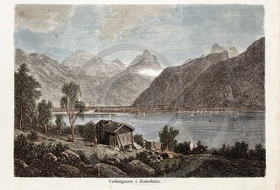 Vintage 1800s Color Illustration of a Cabin on the Water.