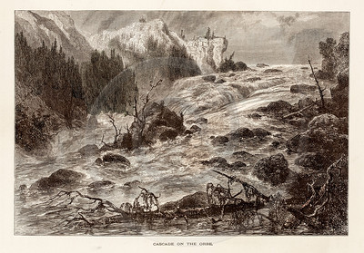 Vintage 1800s Illustration of River Rapids.