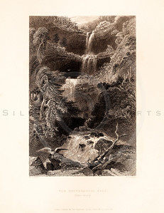 Vintage illustration of the Kaaterskill Falls from American Scenery by W.H. Bartlett, 1839.  Antique digital download of old print - Kaaterskill, falls, waterfall, water, hill, mountain, landscape, American, America.  The natural age-toning, paper stains, and antique printing imperfections are preserved in this 1800s stock image.