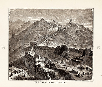 Vintage illustration of the Great Wall of China from 1887.  The natural age-toning, paper stains, and antique printing imperfections are preserved in this 1800s vintage stock image.