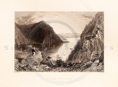Vintage illustration of the Hudson Highlands from American Scenery by W.H. Bartlett, 1839.  Antique digital download of old print - Hudson, highlands, cliffs, mountains, hills, lake, river, landscape, American, America.  The natural age-toning, paper stains, and antique printing imperfections are preserved in this 1800s stock image.