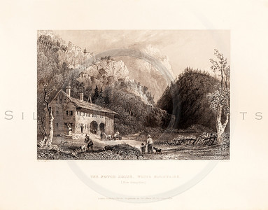 Vintage illustration of the Notch House, White Mountains from American Scenery by W.H. Bartlett, 1839.  Antique digital download of old print - notch house, house, home, mountains, White Mountains, New Hampshire, landscape, American, America.  The natural age-toning, paper stains, and antique printing imperfections are preserved in this 1800s stock image.