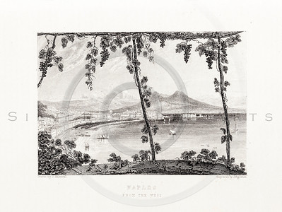 Vintage 1800s Sepia Steel Engraving Illustration of Naples Lake from THE LIBRARY OF CHOICE LITERATURE by Ainsworth Spofford.  The natural patina, age-toning, imperfections, and old paper antiquing of this vintage 19th century illustration are preserved in this image.