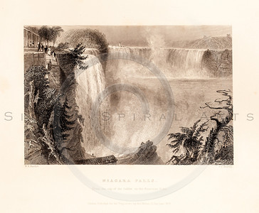 Vintage illustration of Niagara Falls from American Scenery by W.H. Bartlett, 1839.  Antique digital download of old print - Niagara Falls, falls, waterfalls, water, landscape, American, America.  The natural age-toning, paper stains, and antique printing imperfections are preserved in this 1800s stock image.