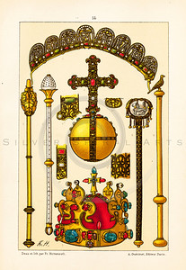 Vintage illustration of Royal Crown Jewels from LE COSTUME, LES ARMES, USTENSILES by F. Hottenroth, Paris c1900. The natural age-toning, paper stains, and antique printing imperfections are preserved in this 1900s vintage stock image.