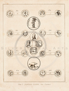 Vintage 1700s Sepia Illustration of Ancient Jewish Coins - FRAGMENTS OF THE HOLY SCRIPTURES by Calmet.