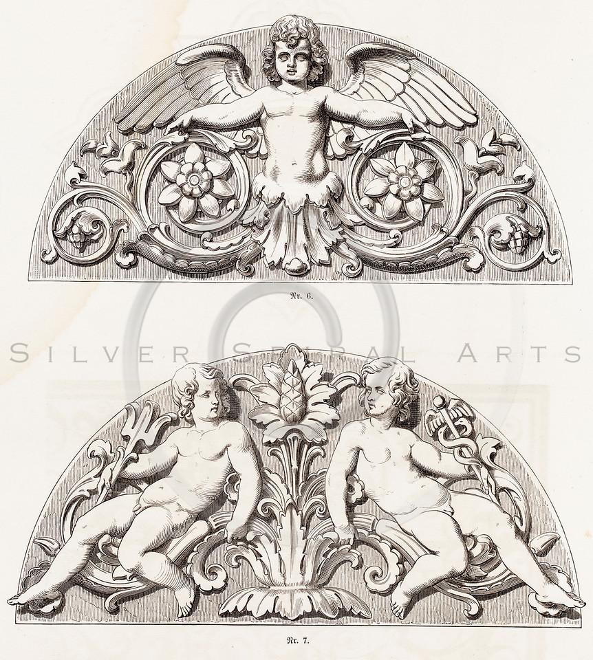 Vintage 1800s Sepia Illustration of Ornamental Decorative Design