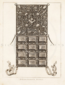 Vintage 1700s Sepia Illustration of Decorative Tablet - FRAGMENTS OF THE HOLY SCRIPTURES by Calmet.