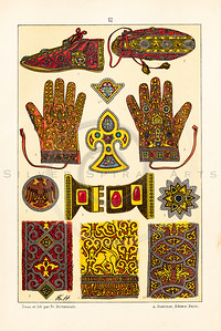 Vintage illustration of Decorated Accessories from LE COSTUME, LES ARMES, USTENSILES by F. Hottenroth, Paris c1900.  The natural age-toning, paper stains, and antique printing imperfections are preserved in this 1900s vintage stock image.