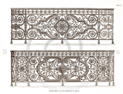 Vintage 1800s Sepia Illustration of Design Pattern - GEWERBEHALLE ORGAN FUR DEN FORTSCHRITT by Gewerbehalle, published in Germany.