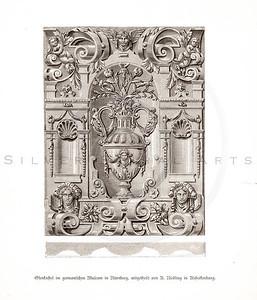 Vintage 1800s Sepia Illustration of Design Pattern - GEWERBEHALL
