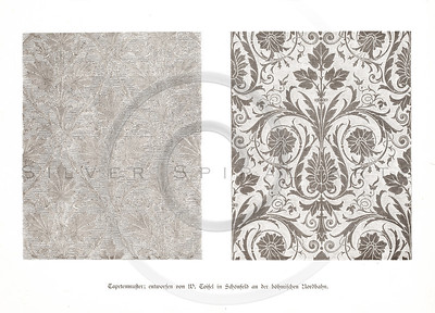 Vintage 1800s Sepia Illustration of Design Pattern - GEWERBEHALL