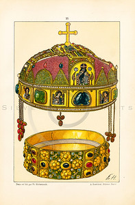 Vintage illustration of Royal Jeweled Crown from LE COSTUME, LES ARMES, USTENSILES by F. Hottenroth, Paris c1900.  The natural age-toning, paper stains, and antique printing imperfections are preserved in this 1900s vintage stock image.