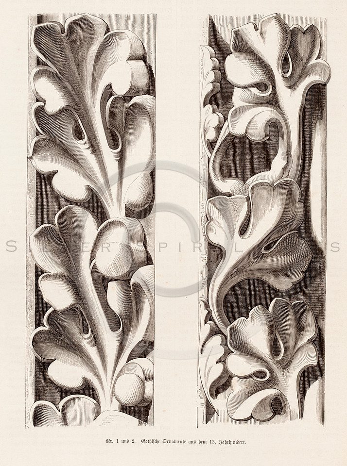Vintage 1800s Sepia Illustration of Ornamental Decorative Design Element from GEWERBEHALLE by Willhelm Baumer.  The natural patina, age-toning, imperfections, and old paper antiquing of this vintage 19th century illustration are preserved in this image.