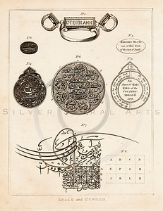 Vintage 1700s Sepia Illustration of Seals - FRAGMENTS OF THE HOLY SCRIPTURES by Calmet.