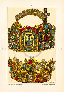 Vintage illustration of Jeweled Crowns from LE COSTUME, LES ARMES, USTENSILES by F. Hottenroth, Paris c1900.  The natural age-toning, paper stains, and antique printing imperfections are preserved in this 1900s vintage stock image.