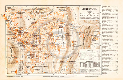 Vintage illustration of Jerusalem Map from Meyers Konversations Lexikon 1913 Encyclopedia.  Antique digital download of old print - Israel; Jerusalem; map; cartography; city; land; roads; country; travel.  The natural age-toning, paper stains, and antique printing imperfections are preserved in this 1900s stock image.