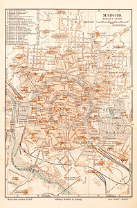 Vintage illustration of Madrid Map from Meyers Konversations Lexikon 1913 Encyclopedia. Antique digital download of old print - map; cartography; city; land; roads; country; travel, Madrid; Spain; Europe.  The natural age-toning, paper stains, and antique printing imperfections are preserved in this 1900s stock image.