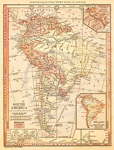 Vintage illustration of South America Map.  Antique digital download of old print - south america; America; Southern; South; map; cartography; geography; world; land; maps.  The natural age-toning, paper stains, and antique printing imperfections are preserved in this 1900s stock image.