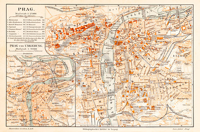 Vintage illustration of Prague Map from Meyers Konversations Lexikon 1913 Encyclopedia.  Antique digital download of old print - Prague; Europe; Czech Republic; map; cartography; city; land; roads; country; travel.  The natural age-toning, paper stains, and antique printing imperfections are preserved in this 1900s stock image.