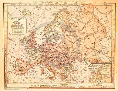 Vintage illustration of Europe Map.  Antique digital download of old print - Europe; Russia; Spain; France; England; Hungary; Austria; Turkey; Italy; map; cartography; geography; world; land; maps.  The natural age-toning, paper stains, and antique printing imperfections are preserved in this 1900s stock image.