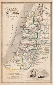 Vintage 1800s Color Illustration of Maps of Israeal from MAPS OF THE HOLY LAND by A.J. Johnson.  The natural patina, age-toning, imperfections, and old paper antiquing of this vintage 19th century illustration are preserved in this image.