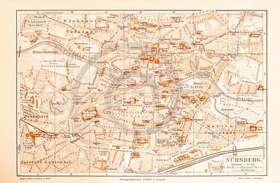 Vintage illustration of Nuremberg Map from Meyers Konversations Lexikon 1913 Encyclopedia.  Antique digital download of old print - Nuremberg; Germany; Europe; map; cartography; city; land; roads; country; travel.  The natural age-toning, paper stains, and antique printing imperfections are preserved in this 1900s stock image.