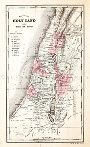 Vintage 1800s Steel Engraving Illustration of a Holy Land Map from THE HOLY LAND.  The natural patina, age-toning, imperfections, and old paper antiquing of this vintage 19th century illustration are preserved in this image.