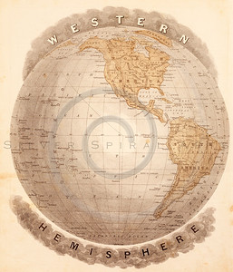 Vintage illustration of Eastern Hemisphere Map.  Antique digital download of old print - map; cartography; globe; world; Western; land; countries; geography; hemisphere.  The natural age-toning, paper stains, and antique printing imperfections are preserved in this 1900s stock image.