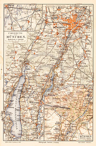 Vintage illustration of Munich Map from Meyers Konversations Lexikon 1913 Encyclopedia. Antique digital download of old print - Munich; Germany; map; cartography; city; land; roads; country; travel.  The natural age-toning, paper stains, and antique printing imperfections are preserved in this 1900s stock image.