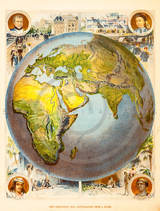 Vintage illustration of Color Globe Map.  Antique digital download of old print - map; cartography; globe; color; geography; world; land; maps.  The natural age-toning, paper stains, and antique printing imperfections are preserved in this 1900s stock image.