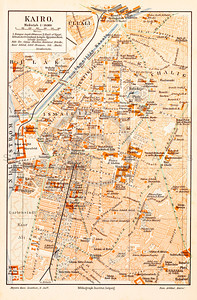 Vintage illustration of Cairo Map from Meyers Konversations Lexikon 1913 Encyclopedia.  Antique digital download of old print - Cairo; Egypt; map; cartography; city; land; roads; country; travel.  The natural age-toning, paper stains, and antique printing imperfections are preserved in this 1900s stock image.
