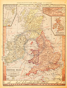 Vintage illustration of British Isles Map. Antique digital download of old print - Ireland; Scotland; England; Wales; Europe; British; Isles; Islands; Kingdom; United Kingdom; map; cartography; geography; world; land; maps.  The natural age-toning, paper stains, and antique printing imperfections are preserved in this 1900s stock image.