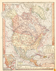 Vintage illustration of North America Map.  Antique digital download of old print - America; North America; United States; USA; Canada; map; cartography; geography; world; land; maps.  The natural age-toning, paper stains, and antique printing imperfections are preserved in this 1900s stock image.