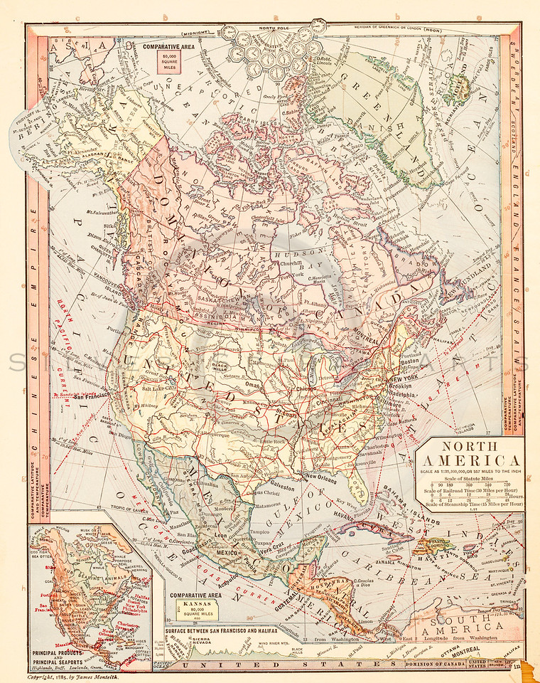 Vintage Ilration Of North America Map Antique Digital Download Of Old Print America