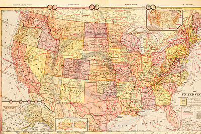 Vintage illustration of United States Map.  Antique digital download of old print - United States; US; USA; America; North America; map; cartography; geography; world; land; maps.  The natural age-toning, paper stains, and antique printing imperfections are preserved in this 1900s stock image.