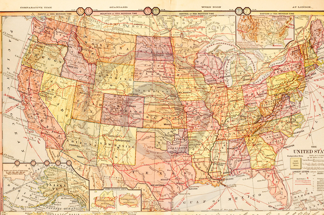 Vintage Ilration Of United States Map Antique Digital Download Of Old Print United States