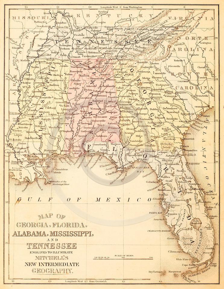 Vintage Ilration Of The Gulf Of Mexico Florida Georgia Alabama Mississippi
