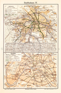 Vintage illustration of Urban Railways Map of Berlin and Paris from Meyers Konversations Lexikon 1913 Encyclopedia. Antique digital download of old print - railways; subways; stadtbahnen; Paris; France; Berlin; Germany; Europe; map; cartography; city; land; roads; country; travel.  The natural age-toning, paper stains, and antique printing imperfections are preserved in this 1900s stock image.