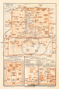 Vintage illustration of Peking Map from Meyers Konversations Lexikon 1913 Encyclopedia.  Antique digital download of old print - Peking; Beijing; China; Asia; map; cartography; city; land; roads; country; travel.  The natural age-toning, paper stains, and antique printing imperfections are preserved in this 1900s stock image.