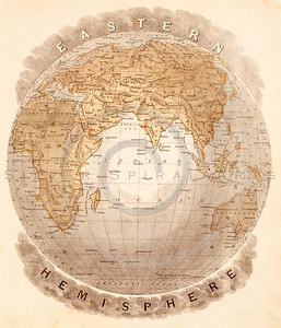 Vintage illustration of Eastern Hemisphere Map.  Antique digital download of old print - map; globe; cartography; Eastern; world; land; countries; geography; hemisphere.  The natural age-toning, paper stains, and antique printing imperfections are preserved in this 1900s stock image.